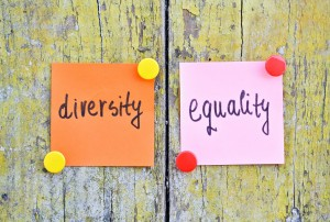 "post it notes that say ""diversity"" and ""equality"""